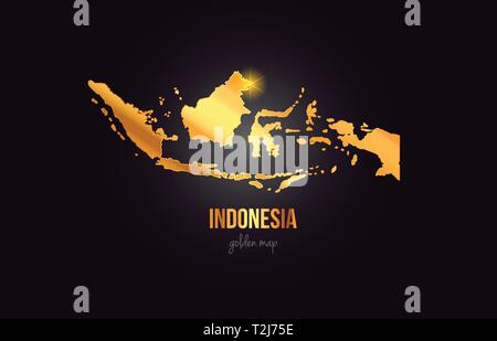 Indonesia country border map in gold golden metal color design suitable for a logo icon design - Stock Photo
