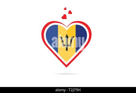 Barbados country flag inside love heart  design suitable for a logo icon design - Stock Photo