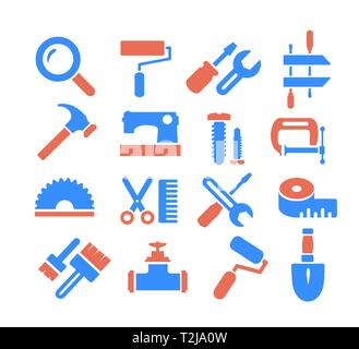 Industrial craft creativity icons set of web signs in flat style - Stock Photo