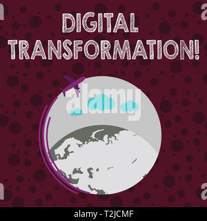 Conceptual hand writing showing Digital Transformation. Concept meaning includes technology and process changes in a business Airplane Flying Around C - Stock Photo