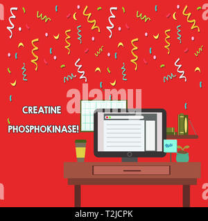 Word writing text Creatine Phosphokinase. Business photo showcasing protein that aids chemical changes in the body photo of Interior Working Space Sta - Stock Photo