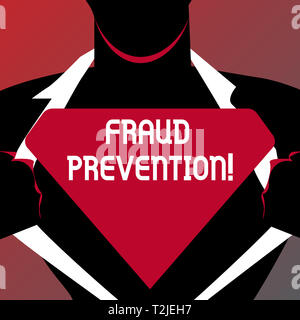 Conceptual hand writing showing Fraud Prevention. Concept meaning stop from doing or happening to hinder demonstrating acting Man Opening his Shirt to - Stock Photo