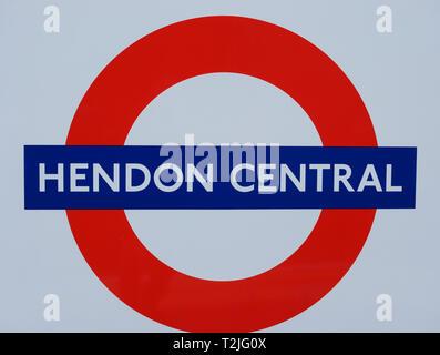 Hendon Central Underground roundel and station name. - Stock Photo