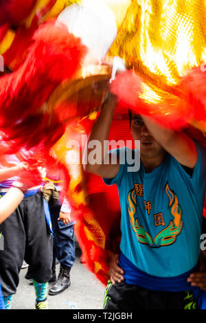 Celebration of the Chinese New Year in Lima, Peru, South America. Dance of the Dragon.