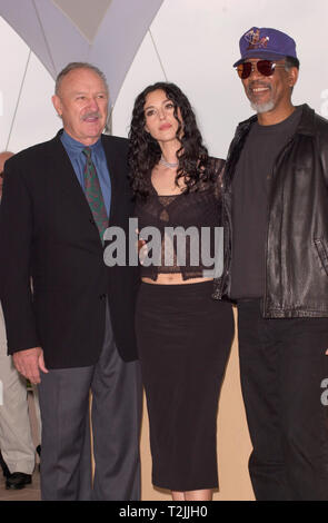 CANNES, FRANCE. May 11, 2000:  Actors Gene Hackman (left), Monica Bellucci & Morgan Freeman at the Cannes Film Festival to promote their new movie Under Suspicion. Picture: Paul Smith/Featureflash - Stock Photo