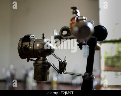 details of accesories for bikes horn light bell on an expo in museo el castillo in medellin colombia - Stock Photo