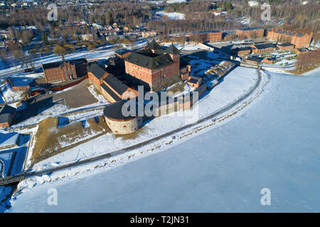 A view from the height of the ancient fortress-prison of the town of Hameenlinna on a sunny March day (aerial photography). Finland - Stock Photo