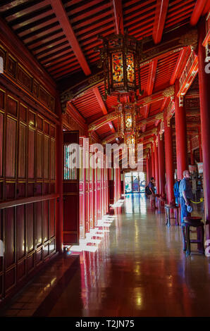 Hue, Vietnam - January 5, 2015:  Interior of Hung To Mieu (Temple of the Resurrection) inside the citadel. Hue Imperial City, Vietnam. - Stock Photo