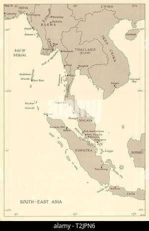 South-East Asia. Indochina in 1944. Ports. World War 2 naval campaigns 1961 map - Stock Photo