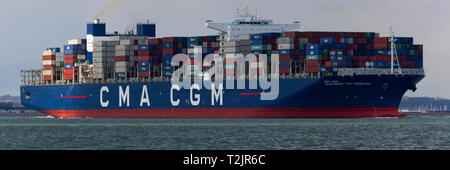 Brexit. Container, ship, CMA CGM, Alexander Von,Humboldt, Leaving, Southampton,Container, termianal,The Solent, One of the, largest, container, ships, - Stock Photo