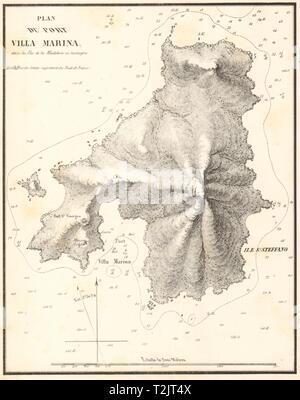 Santo Stefano, Maddalena. 'Port Villa Marina'. Sardinia. GAUTTIER 1851 old map - Stock Photo