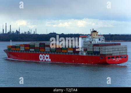 Container Ship,OOCL,Montreal,Fawley,Oil,Refinery,The Solent,Southampton,Port,Terminal,Cowes,isle of Wight,England,UK,