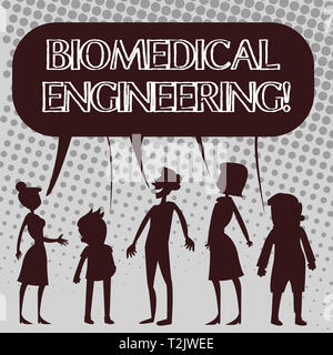 Handwriting text Biomedical Engineering. Conceptual photo advances knowledge biology medicine improves health Silhouette Figure of People Talking and  - Stock Photo