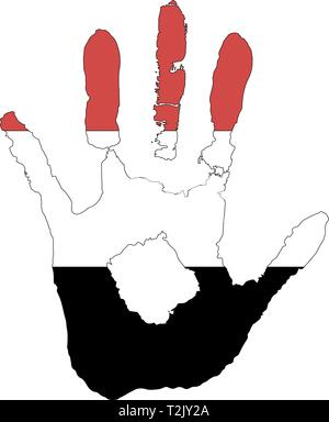 red, white, black color of the flag. vector handprint in the form of the flag of Trinidad and Yemen. - Stock Photo