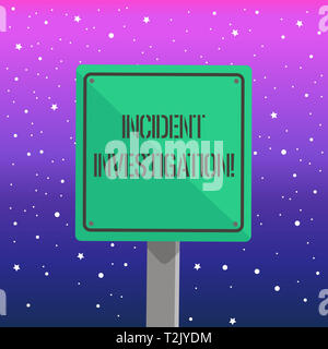Handwriting text writing Incident Investigation. Conceptual photo Account and analysis of an incident based on evidence 3D Square Blank Colorful Cauti - Stock Photo