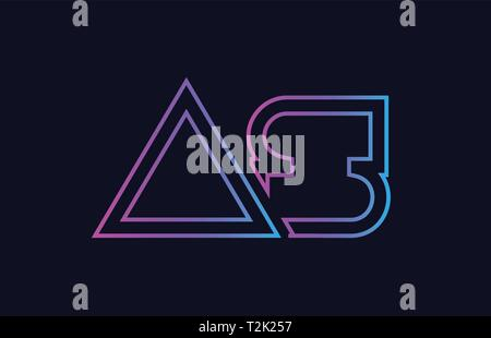 blue pink alphabet letter logo combination as a s design suitable for a company or business - Stock Photo