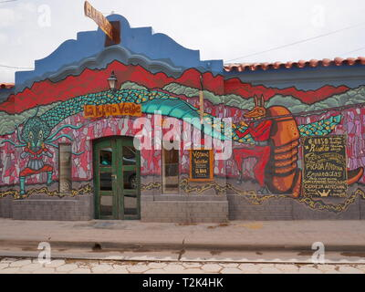 TILCARA, AR - CIRCA OCT, 2018 - Tilcara is the typical andean village, with colorful restaurants and markets. - Stock Photo
