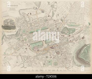 EDINBURGH antique town city map plan. Key buildings profiles. SDUK 1844 - Stock Photo