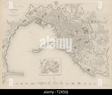 GENOVA (GENOA GÊNES) GÈNES antique town city map plan.Inset outworks SDUK 1844 - Stock Photo