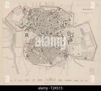 MADRID antique town city map plan. Original outline colour. Spain. SDUK 1844 - Stock Photo