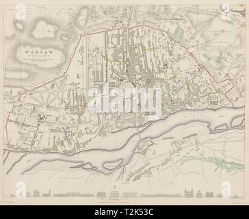 WARSAW WARSZAWA antique town city map plan. Building profiles.Colour SDUK 1844 - Stock Photo