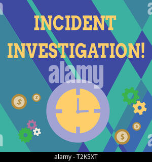 Handwriting text writing Incident Investigation. Conceptual photo Account and analysis of an incident based on evidence Time Management Icons of Clock - Stock Photo
