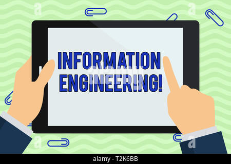Writing note showing Information Engineering. Business concept for deals with distribution and knowledge in systems Hand Holding Pointing Touching Col - Stock Photo