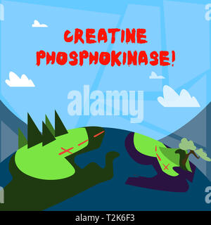 Word writing text Creatine Phosphokinase. Business photo showcasing protein that aids chemical changes in the body Mountain View with Marked Hiking Tr - Stock Photo