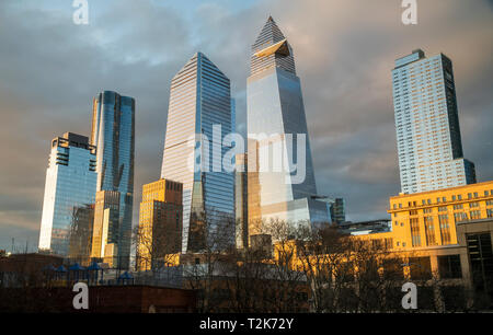 10 Hudson Yards, center, 30 Hudson Yards, right, and other development around Hudson Yards in New York on Sunday, March 31, 2019. (© Richard B. Levine) - Stock Photo