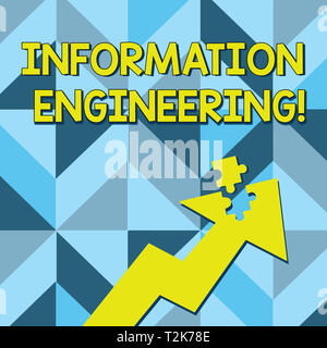 Conceptual hand writing showing Information Engineering. Concept meaning deals with distribution and knowledge in systems Arrow Pointing Up with Detac - Stock Photo