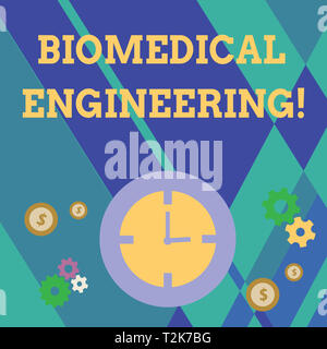 Handwriting text writing Biomedical Engineering. Conceptual photo advances knowledge biology medicine improves health Time Management Icons of Clock,  - Stock Photo