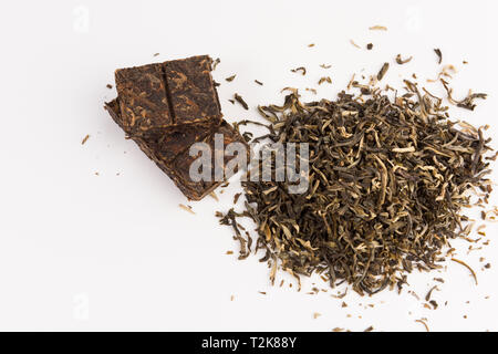 green tea isolated on white background, top view - Stock Photo