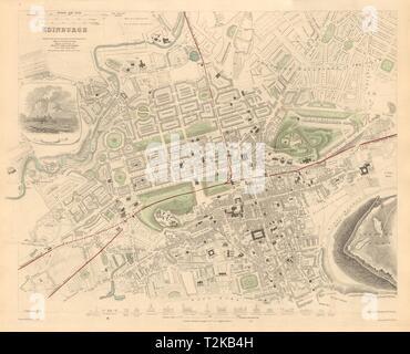 EDINBURGH. Antique town city map plan. Key buildings profiles. SDUK 1847 - Stock Photo