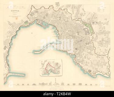 GENOVA GENOA GÊNES GÈNES. Antique town city map plan. Inset outworks. SDUK 1847 - Stock Photo