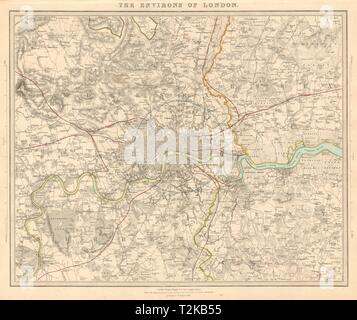 LONDON & ENVIRONS. Middlesex Kent Essex Surrey. Coloured. SDUK 1847 old map - Stock Photo