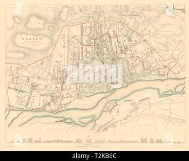 WARSAW WARSZAWA antique town city map plan. Building profiles. Colour. SDUK 1847 - Stock Photo