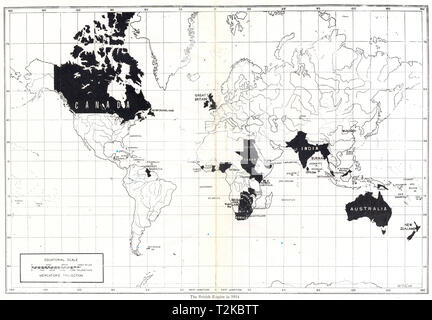 WORLD. The British Empire in 1914 1948 old vintage map plan chart - Stock Photo