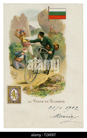 French historical chromolithographic postcard: World post series. Bulgarian post. Postman on a Bicycle shoots from the bandits. Flag and postage stamp