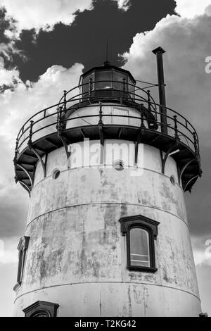 Sleepy Hollow Lighthouse against a cloudy sky on a beautiful summer's day, medium shot, in black and white, Sleepy Hollow, Upstate New York, NY - Stock Photo
