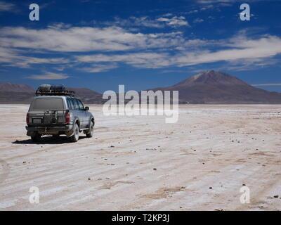 UYUNI, BO - CIRCA OCT 2018 - The incredible salt flat of the andean altiplano of Bolivia, South America - Stock Photo