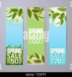 Set of vector spring sale vertical banners. Realistic branches green leafs, grass. Blank template, vector mockup for site banners, ads, booklet, poste - Stock Photo