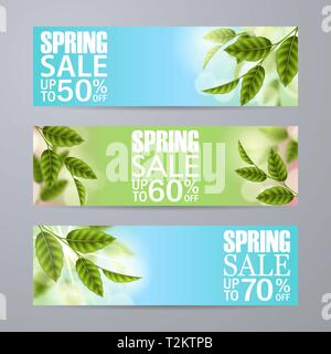 Set of vector spring sale horizontal banners. Realistic branches green leafs, bokeh. Blank template, vector mockup for site banners, ads, booklet, pos - Stock Photo