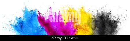colorful CMYK cyan magenta yellow key holi paint color powder explosion print concept isolated on white background - Stock Photo