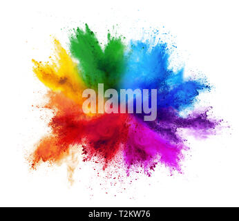 colorful rainbow holi paint color powder explosion isolated on white background - Stock Photo