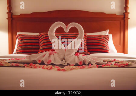Romantic Bedroom Interior, Kissing Swan Origami Towels and sprinkled fresh Pink White Rose Flower Petals decoration on bed for newlywed couple. Weddin - Stock Photo