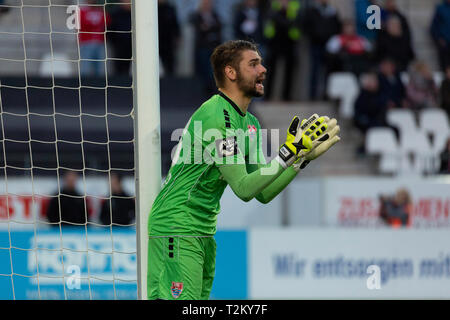 sports, football, Lower Rhine Cup, 2018/2019, semifinal, Rot Weiss Essen vs KFC Uerdingen 0-2, Stadium Essen, Hafenstrasse, scene of the match, keeper Robin Benz (KFC) - Stock Photo