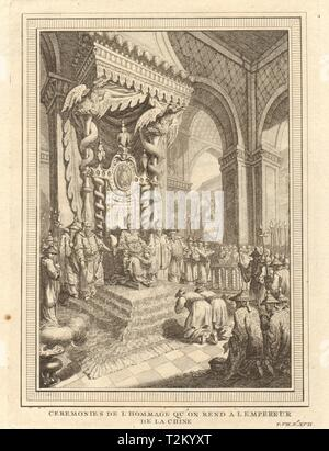 'Ceremonies de l'Hommage'. Paying homage to the Emperor of China 1749 print - Stock Photo