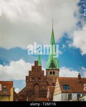 Historic architecture in the city of Helsingor, Denmark. - Stock Photo
