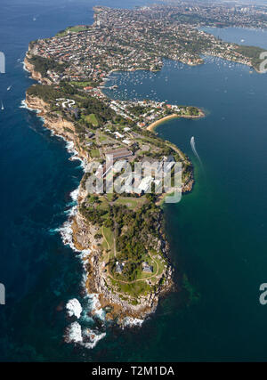 Aerial view of South Head and Watsons Bay at the entrance to Sydney Harbour - Sydney NSW Australia. - Stock Photo