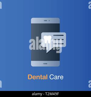 Dental care concept. Appointment on mobile to check up and dental treatment. Vector illustration. - Stock Photo